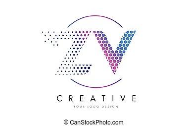 zv z v pink magenta dotted bubble letter logo design vector