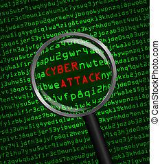 zvetšovací sklo, cyber, skrz, kód, napadnout, počítač, stroj...