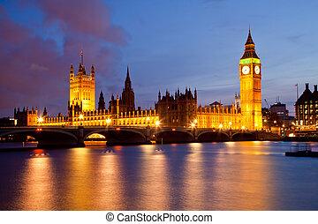 zvon věžních hodin londýnského parlamentu, a, palác, o,...