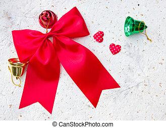 zvonky, paper., poklona, grafické pozadí, vánoce, červeň