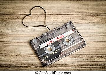zvukový kazeta pásek, dále, dřevěný, backgound., blána, tvarování, nitro