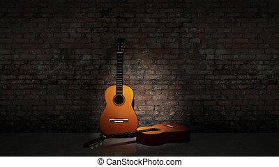 zvukový kytara, klonit se oproti, grungy, watt