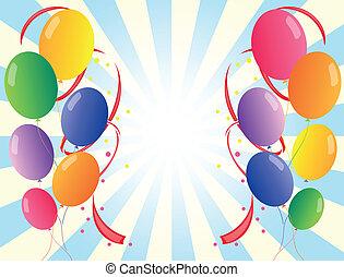 zwölf, bunte, party, luftballone