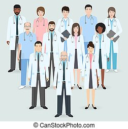 zwölf, stil, nurses., gruppe, illustration., staff., wohnung...