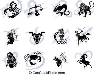 zwölf, tierkreis, horoskop, stern- zeichen