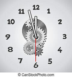 zwölf, weißes, fünf, minuten, clock.