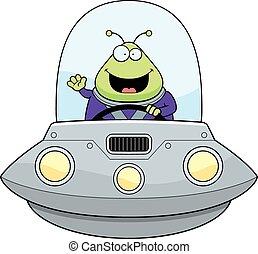 zwaaiende , alien, spotprent, ufo