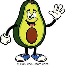 zwaaiende , avocado, mascotte