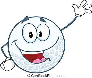zwaaiende , bal, golf, groet, vrolijke
