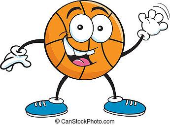 zwaaiende , basketbal, spotprent