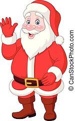 zwaaiende , claus, spotprent, kerstman, vrolijke