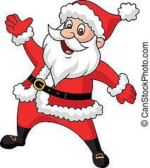zwaaiende , clausule, spotprent, kerstman, hand