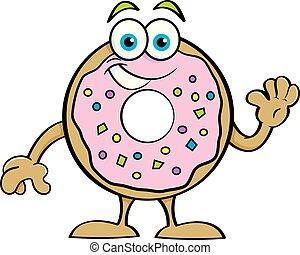 zwaaiende , donut, spotprent, vrolijke