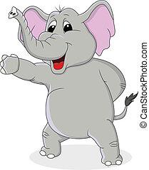 zwaaiende , elefant, spotprent, hand
