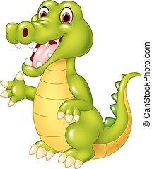 zwaaiende , gekke , krokodil, spotprent, hand