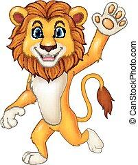 zwaaiende , gekke , leeuw, spotprent