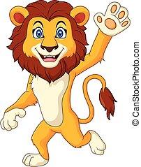 zwaaiende , gekke , leeuw, spotprent, hand