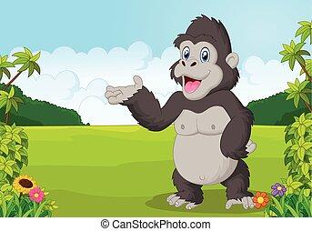 zwaaiende , gorilla, spotprent
