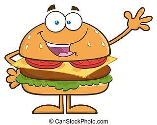 zwaaiende , hamburger, karakter, vrolijke