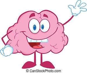 zwaaiende , hersenen, groet, vrolijke