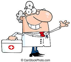 zwaaiende , het glimlachen, mannelijke arts