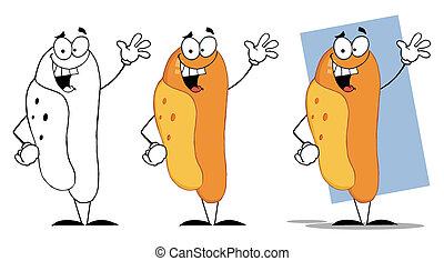 zwaaiende , hot dog, groet, gelukkig
