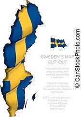 zwaaiende , kaart, vlag, bouwkarton, zweden