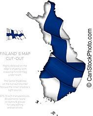 zwaaiende , kaart, vlag, finland, bouwkarton