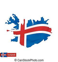 zwaaiende , kaart, vlag, iceland., ijsland