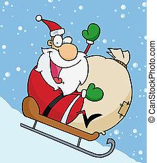 zwaaiende , kerstman, kerstmis, sledding