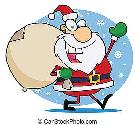 zwaaiende , kerstmis, kerstman, vrolijk