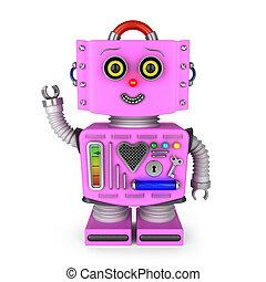 zwaaiende , meisje, speelgoed robot, hallo