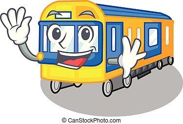zwaaiende , metro trein, speelgoed, in vorm, mascotte