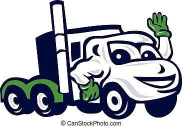 zwaaiende , optuigen, vrachtwagen, spotprent, semi