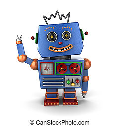 zwaaiende , ouderwetse , speelgoed robot