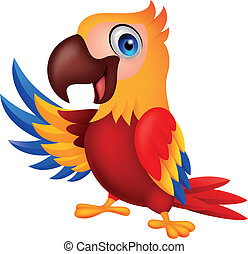 zwaaiende , schattig, macaw, vogel, spotprent