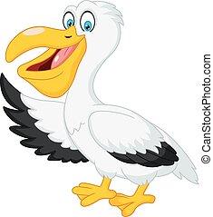 zwaaiende , schattig, pelikan, spotprent, hand
