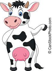 zwaaiende , schattig, spotprent, koe, hand