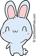 zwaaiende , schattig, spotprent, konijn