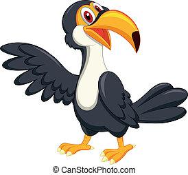 zwaaiende , schattig, toucan, vogel, spotprent