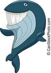 zwaaiende , schattig, walvis, spotprent