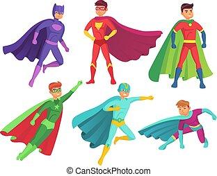 zwaaiende , set, held, kleurrijke, vliegen, karakter, gespierd, cloak., characters., vector, kostuum, superhero, fantastisch, spotprent, superheroes, man