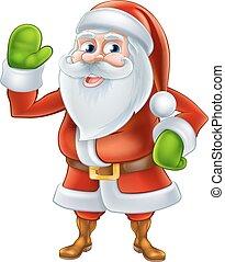 zwaaiende , spotprent, kerstman