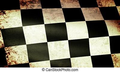 zwaaiende , vlag, checkered, grunge