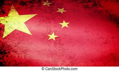 zwaaiende , vlag, grunge, china