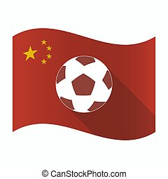 zwaaiende , voetbal, vlag, bal, china