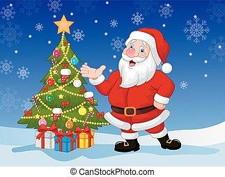 zwaaiende , vrolijke , spotprent, kerstman, hand
