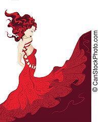 zwaaiende , vrouw, jurkje, jonge, rood