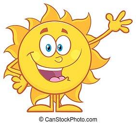 zwaaiende , zon, groet, vrolijke