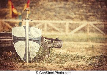 zwaard, en, schild
